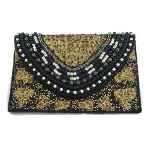 NEW!!  Hand Beaded Black Clutch